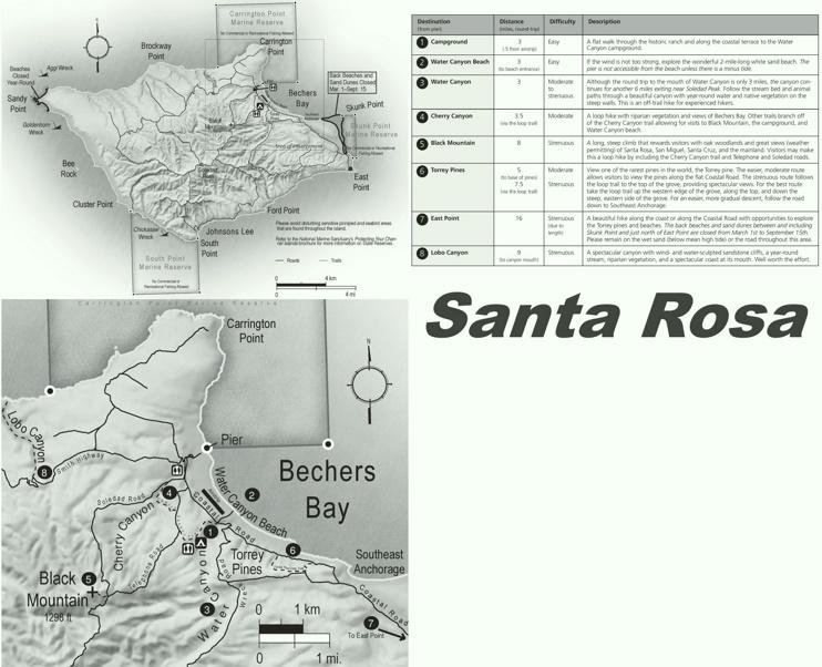 Santa Rosa Island hiking map