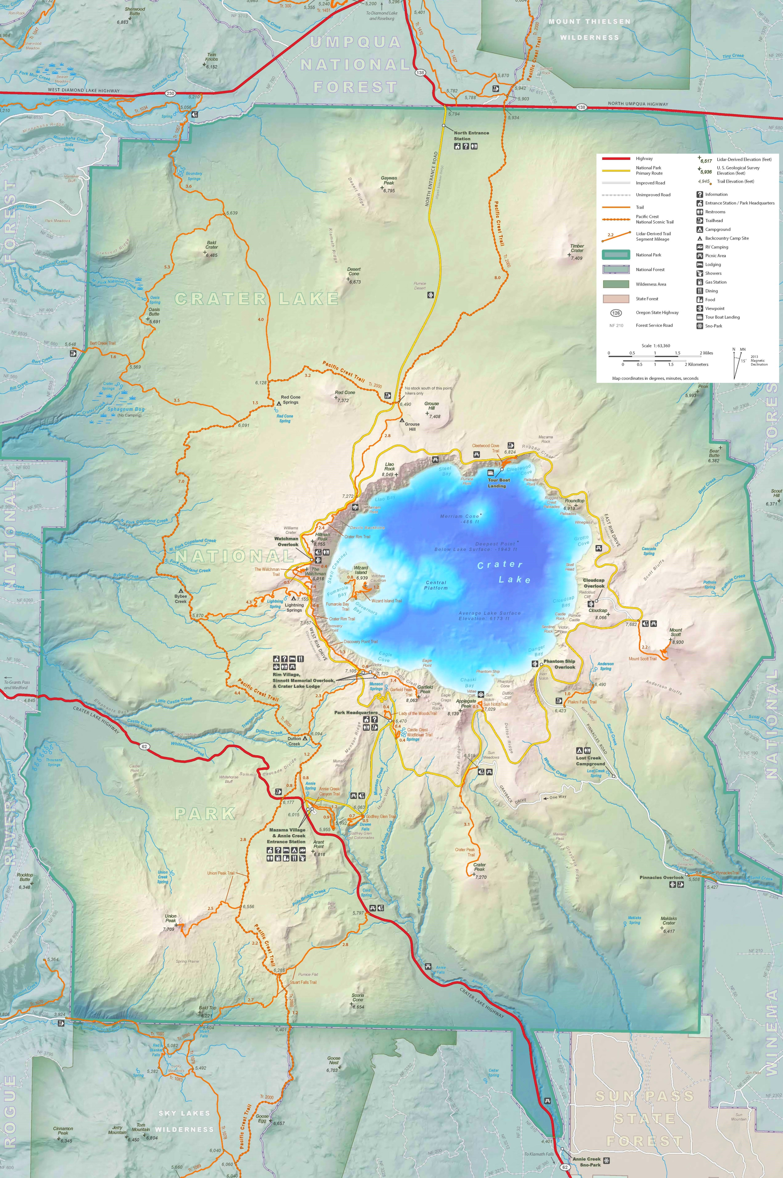 Crater Lake Camping Map
