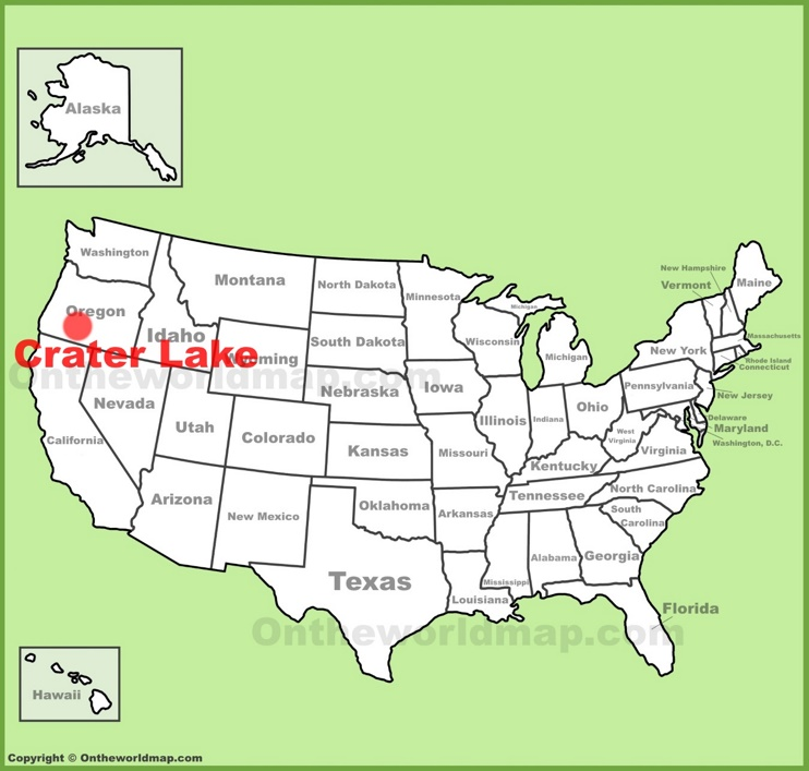 Crater Lake location on the U.S. Map