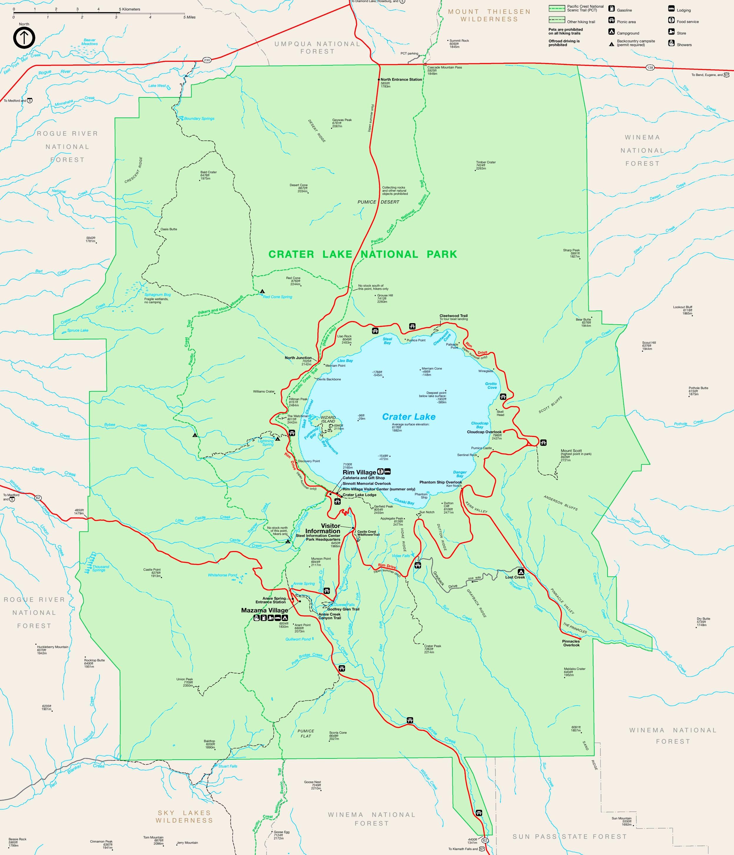 Crater Lake tourist map