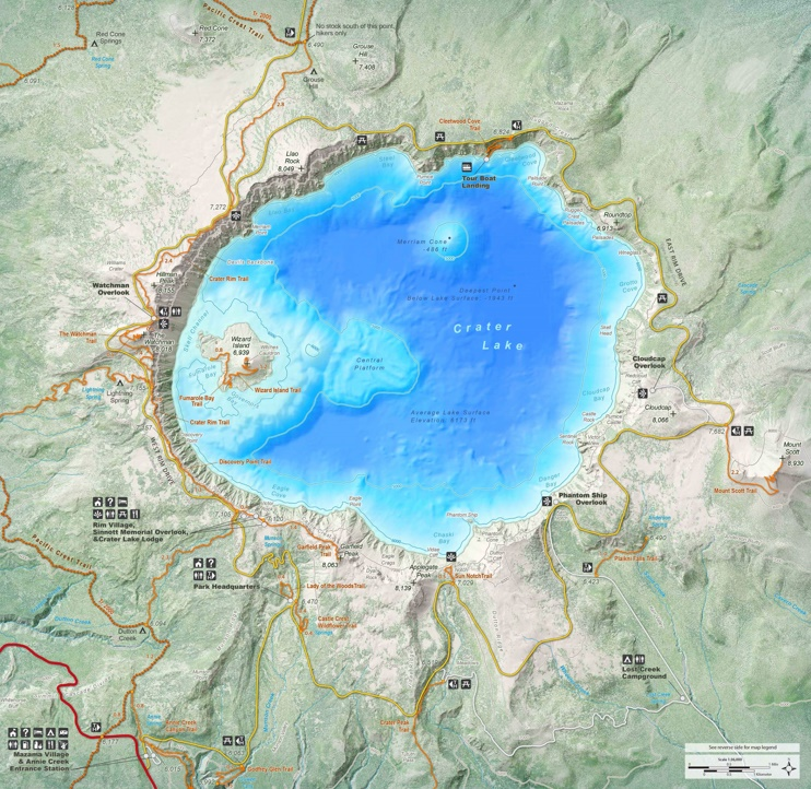 Detailed map of Crater Lake