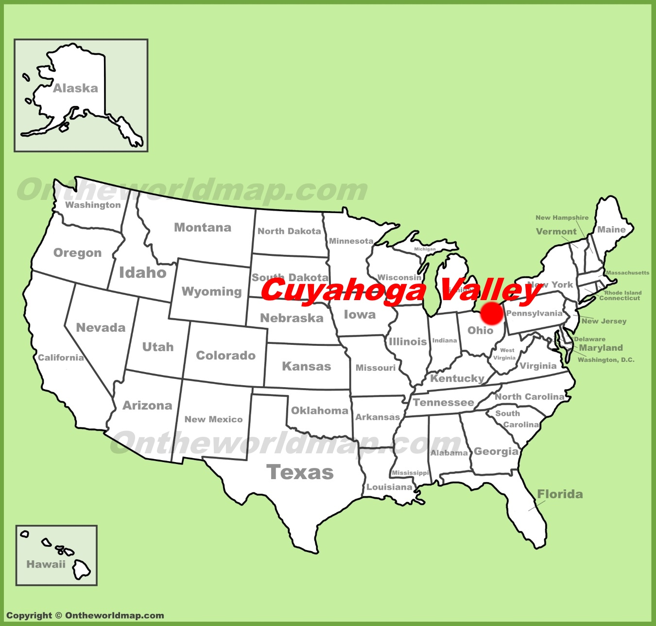 Cuyahoga Valley National Park location on the US Map