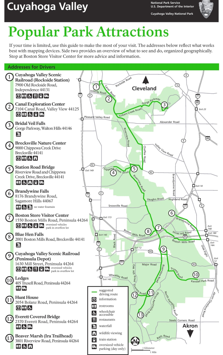 Cuyahoga Valley tourist attractions map