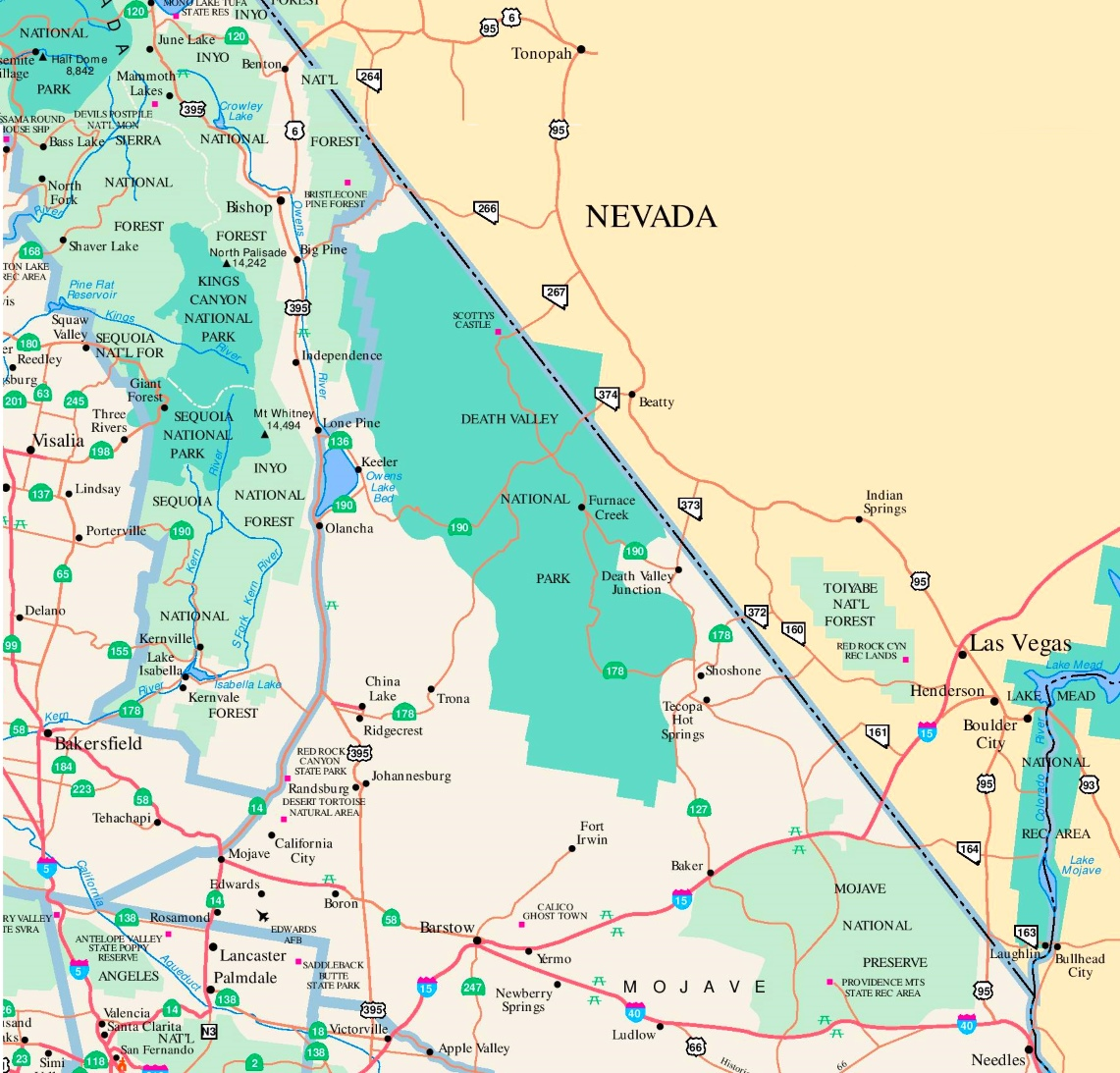 Valley area road map on