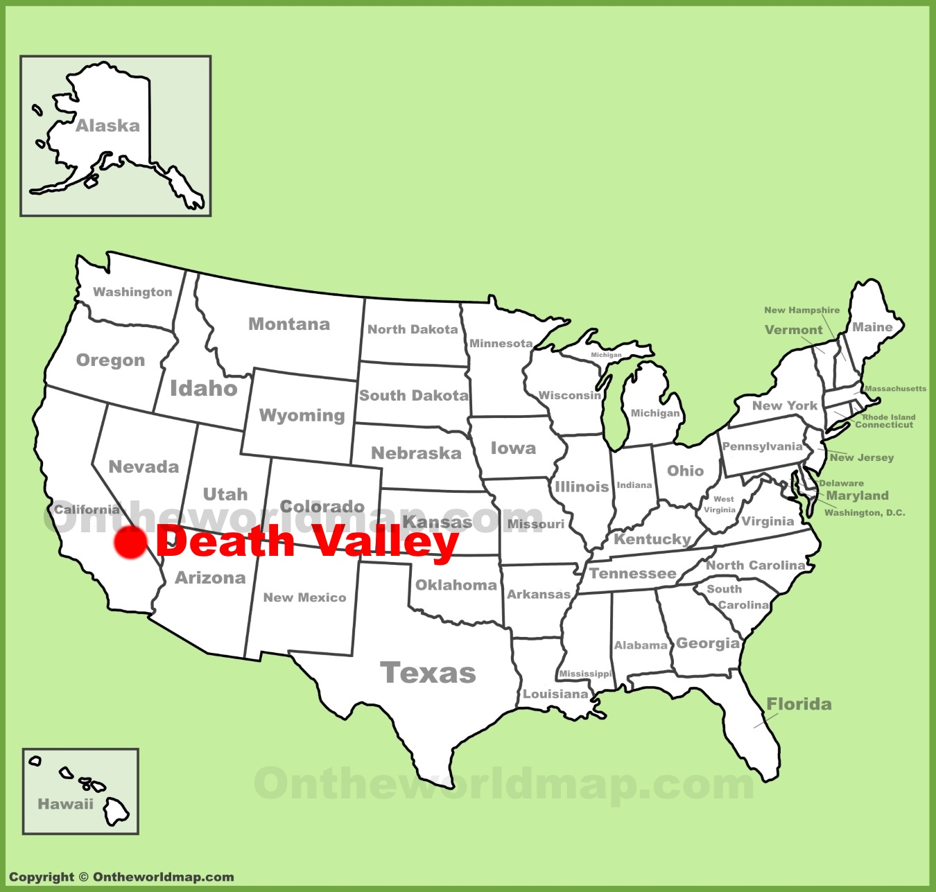 Death Valley Map Death Valley location on the U.S. Map Death Valley Map