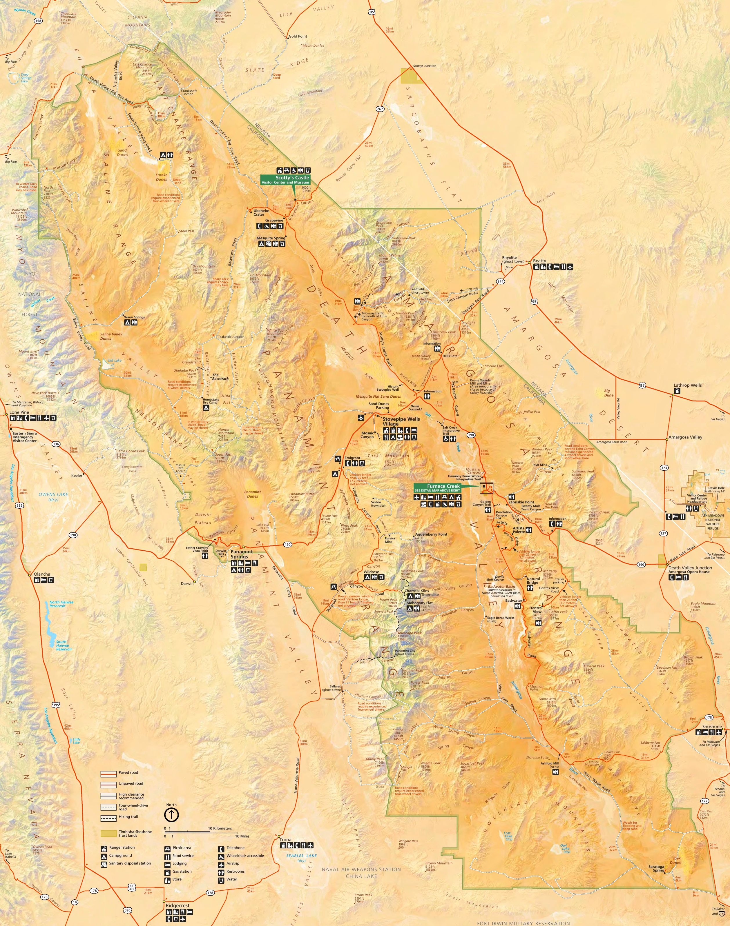 Death Valley lodging and camping map