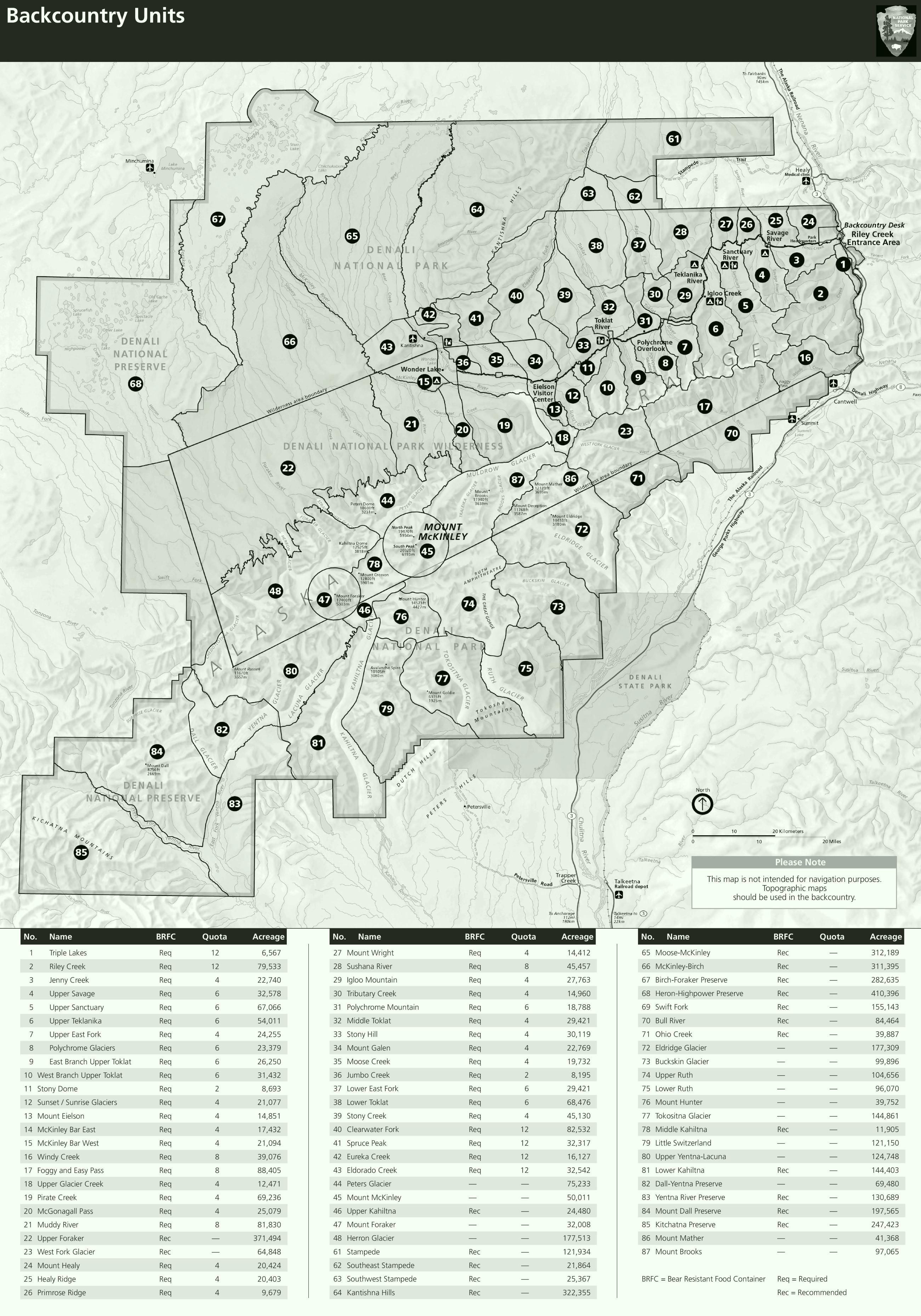 Denali backcountry map