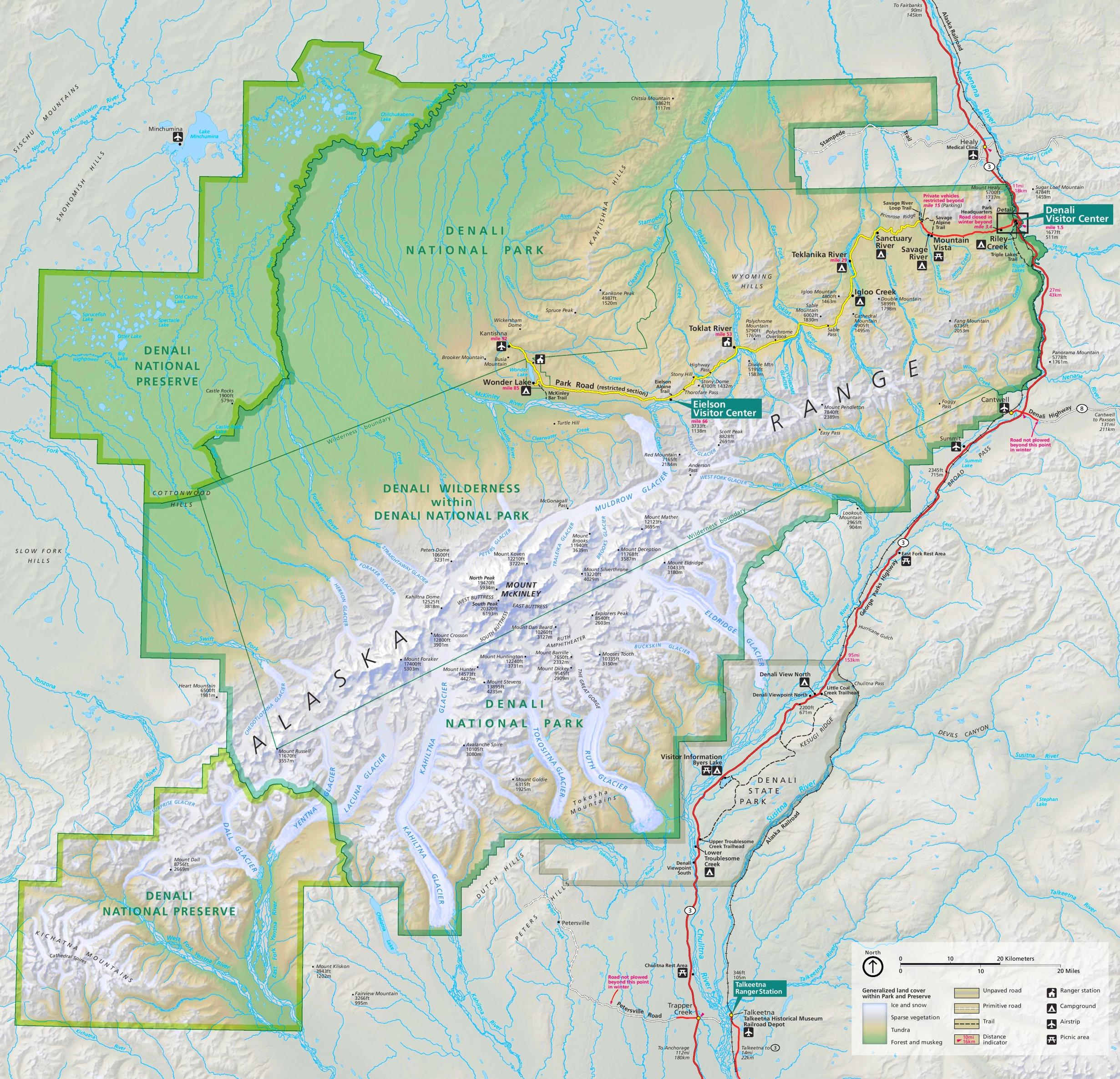 Denali National Park trail and camping map