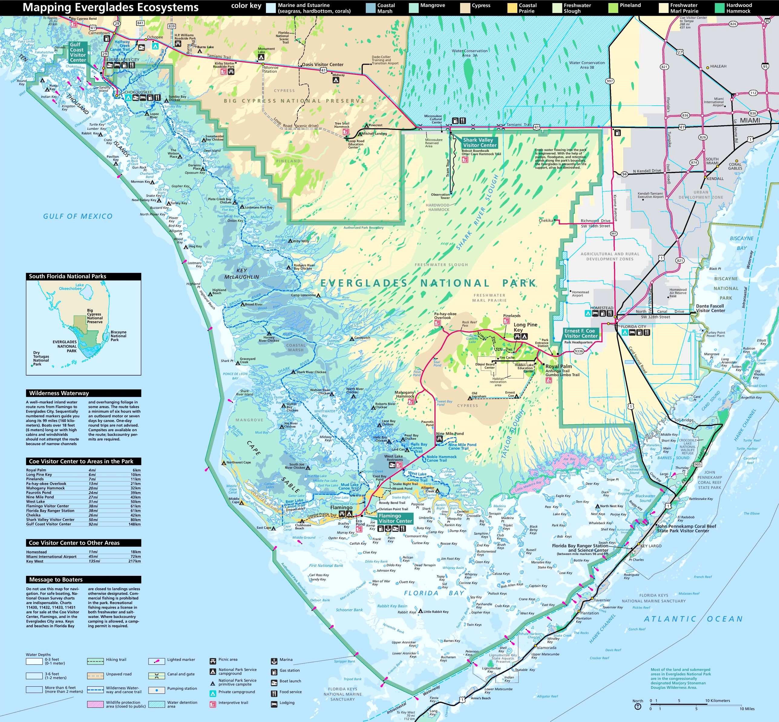 Detailed tourist map of Everglades National Park