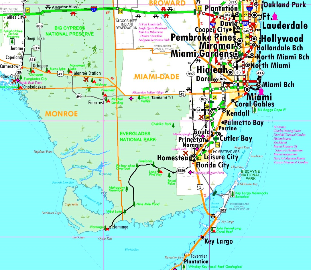 Everglades National Park area road map