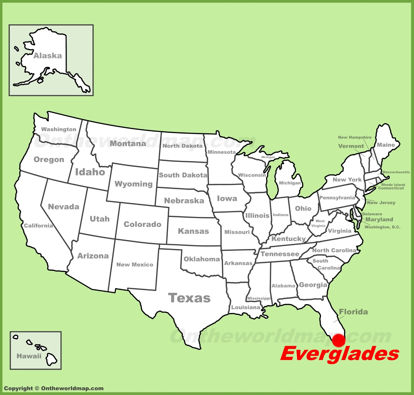 Everglades National Park location on the US Map