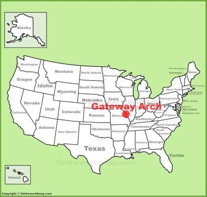 Gateway Arch Location Map