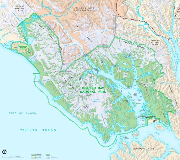 Detailed map of Glacier Bay National Park