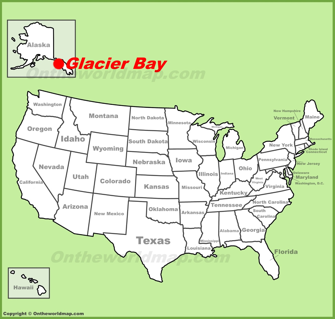 Glacier Bay National Park location on the US Map