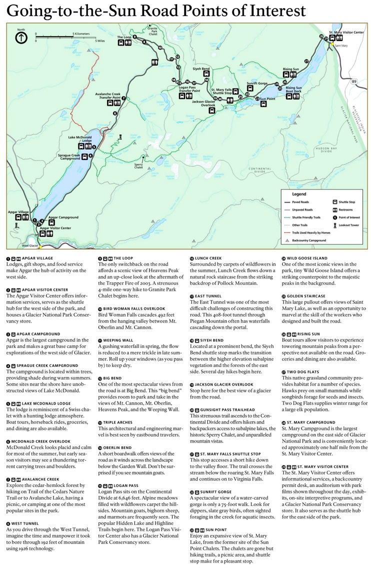 Going-to-the-Sun Road sightseeing map