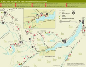 Logan Pass and St. Mary Valley trail map