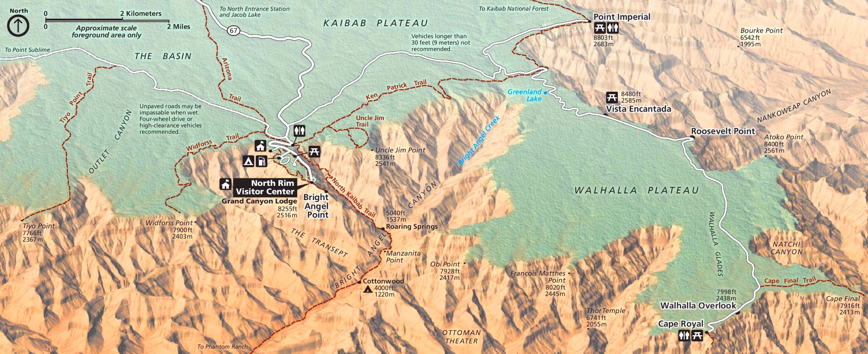 Detailed map of Grand Canyon North Rim