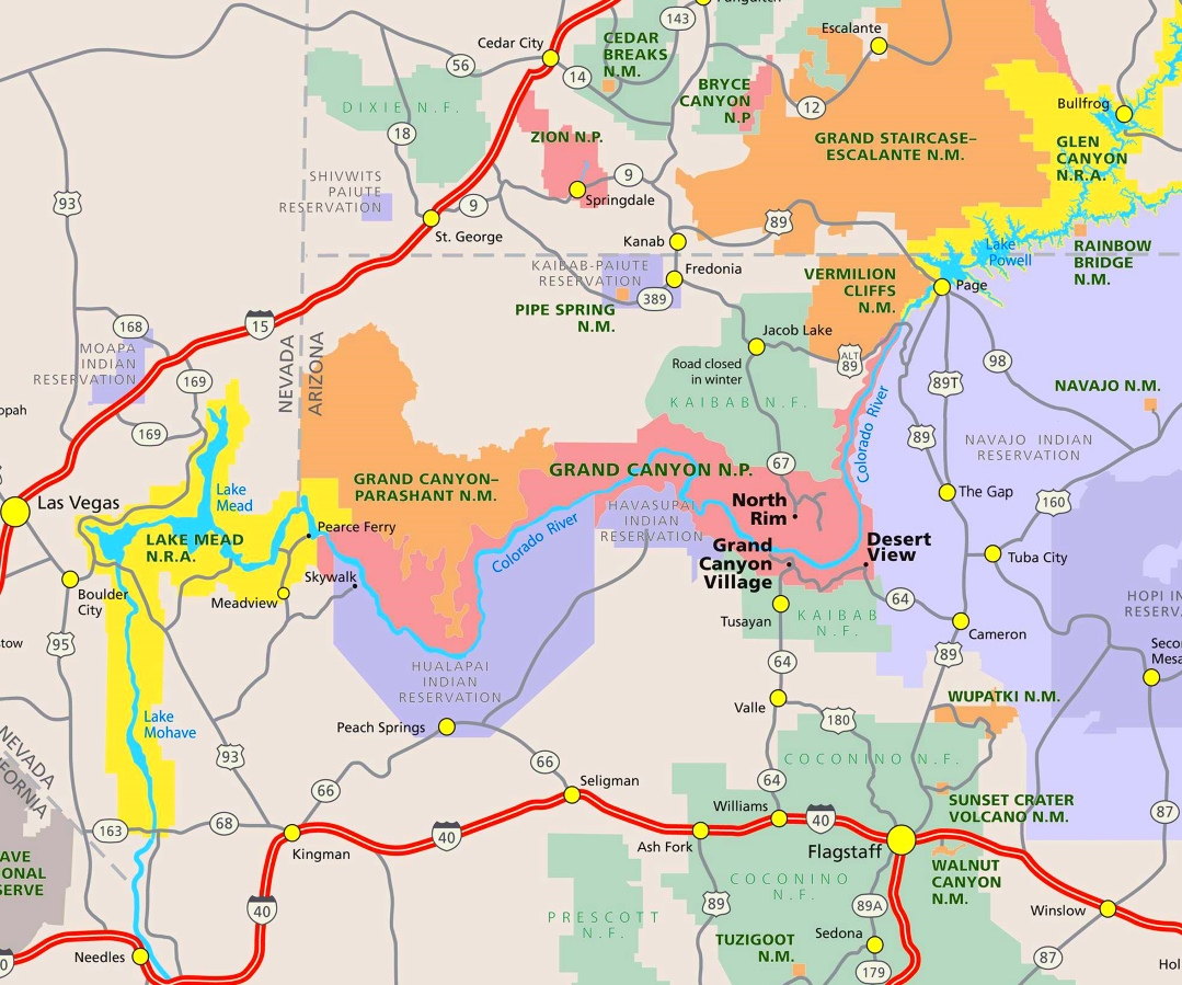 Grand Canyon Area Road Map