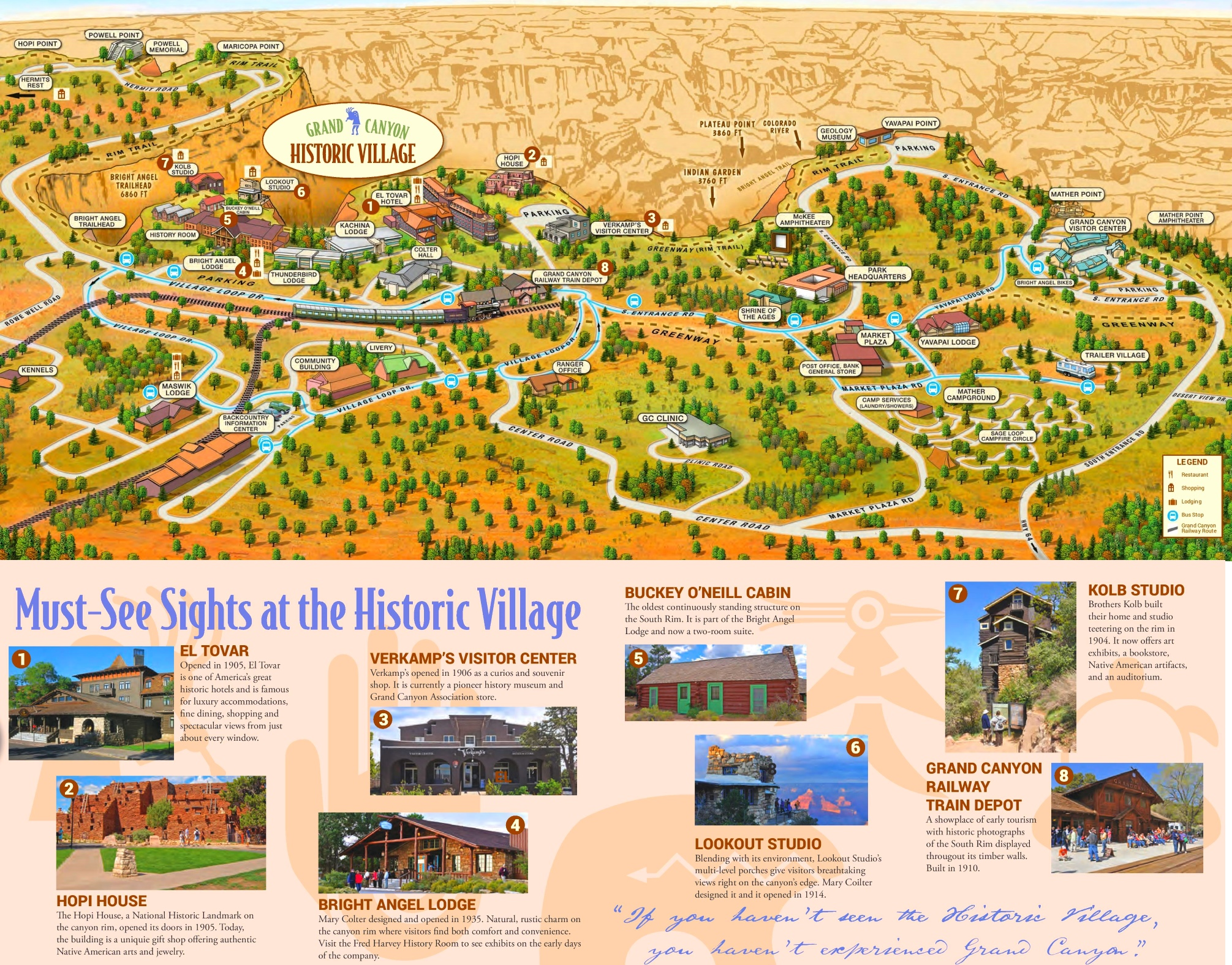 Grand Canyon Historic Village sightseeing map