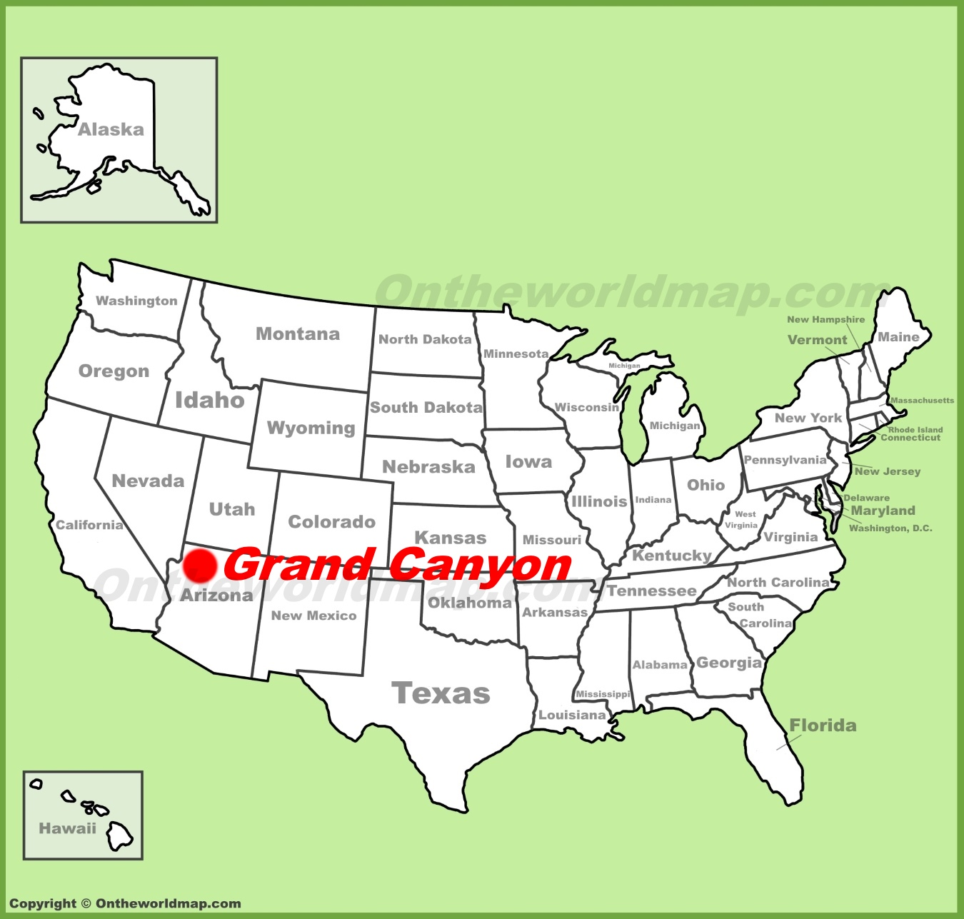 Grand Canyon On Map Of Us Map Of Us