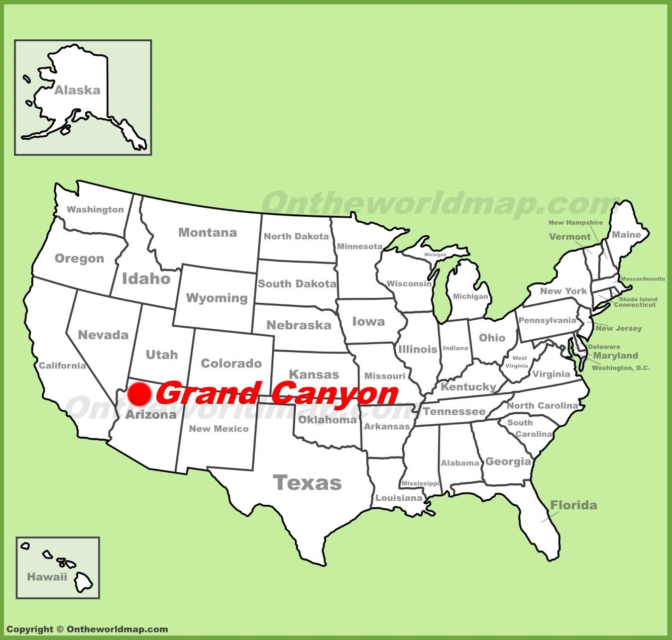 Grand Canyon On Map Grand Canyon Maps | USA | Maps of Grand Canyon National Park