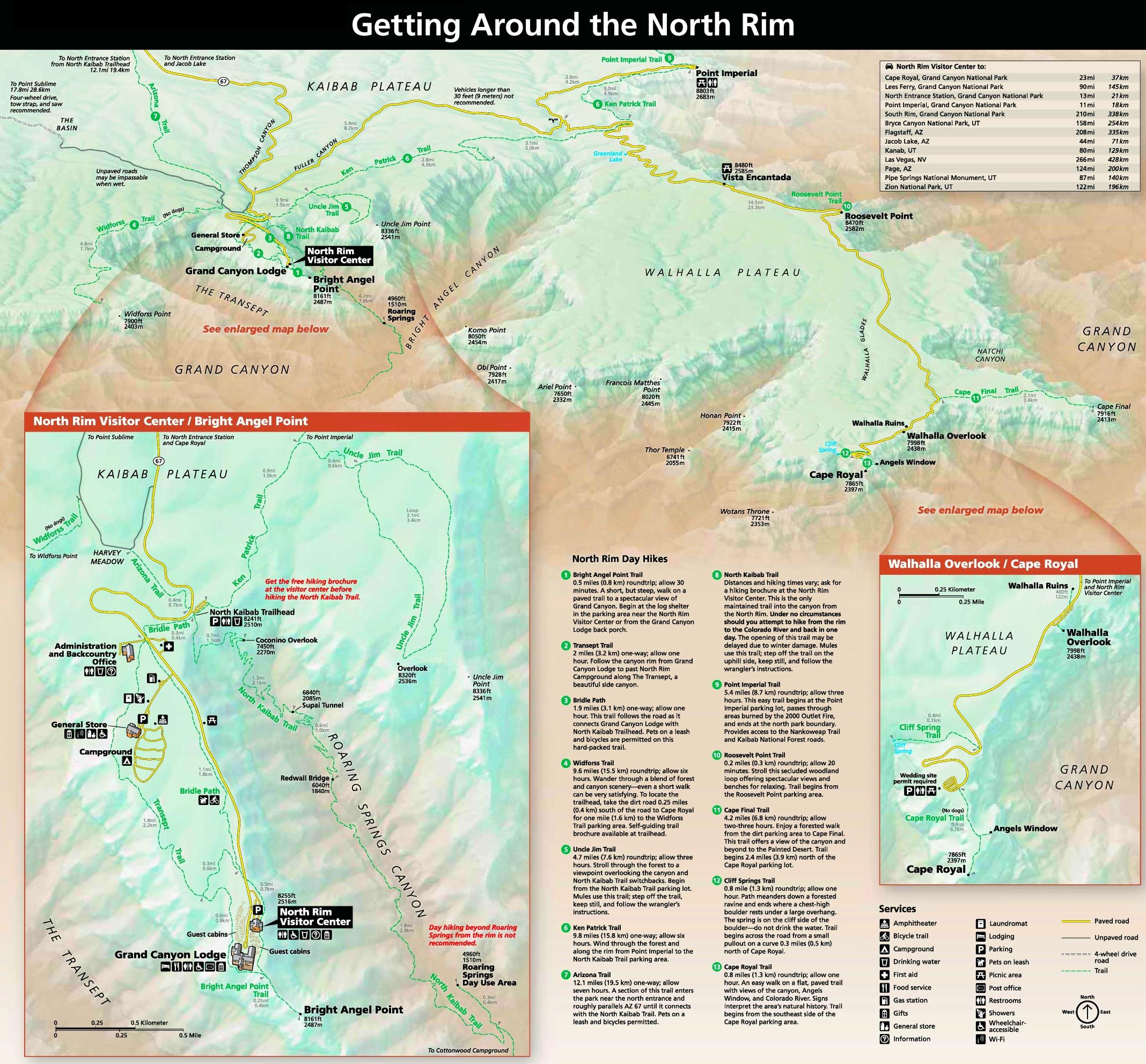 Grand Canyon North Rim lodging and camping map