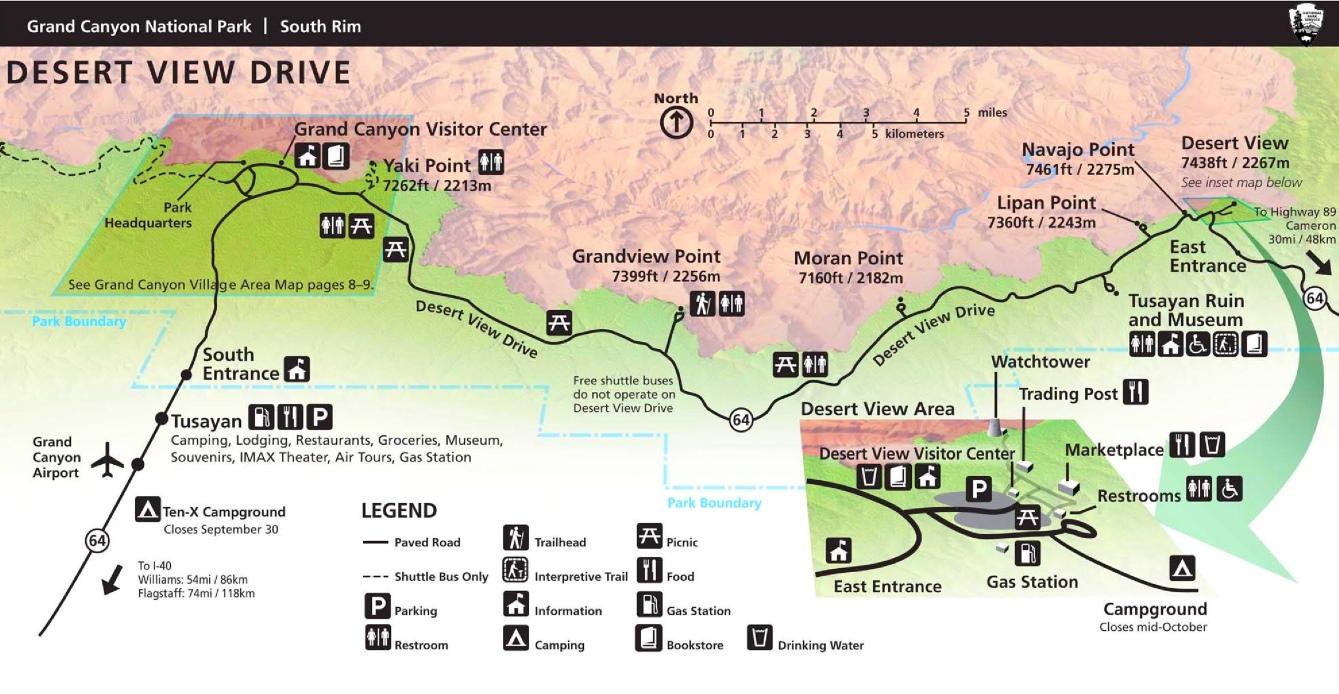 Grand Canyon Desert View Drive Map