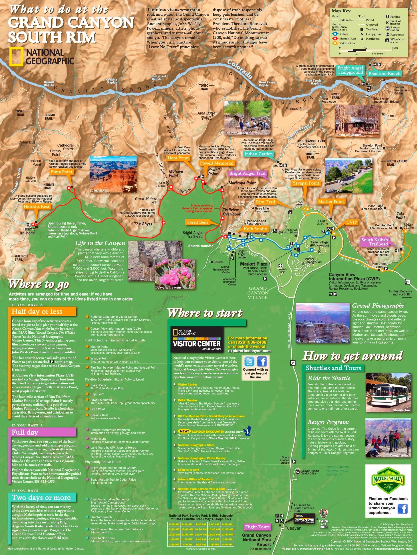 Grand Canyon South Rim tourist map