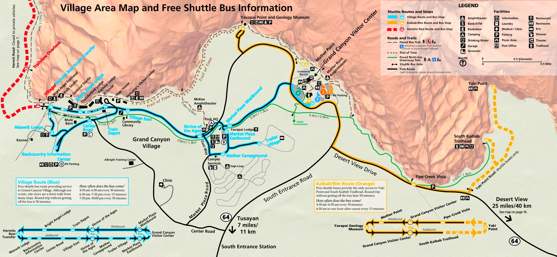 map of grand canyon south rim Grand Canyon South Rim Village Shuttle Map map of grand canyon south rim