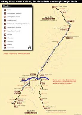 North Kaibab, South Kaibab and Bright Angel hiking map