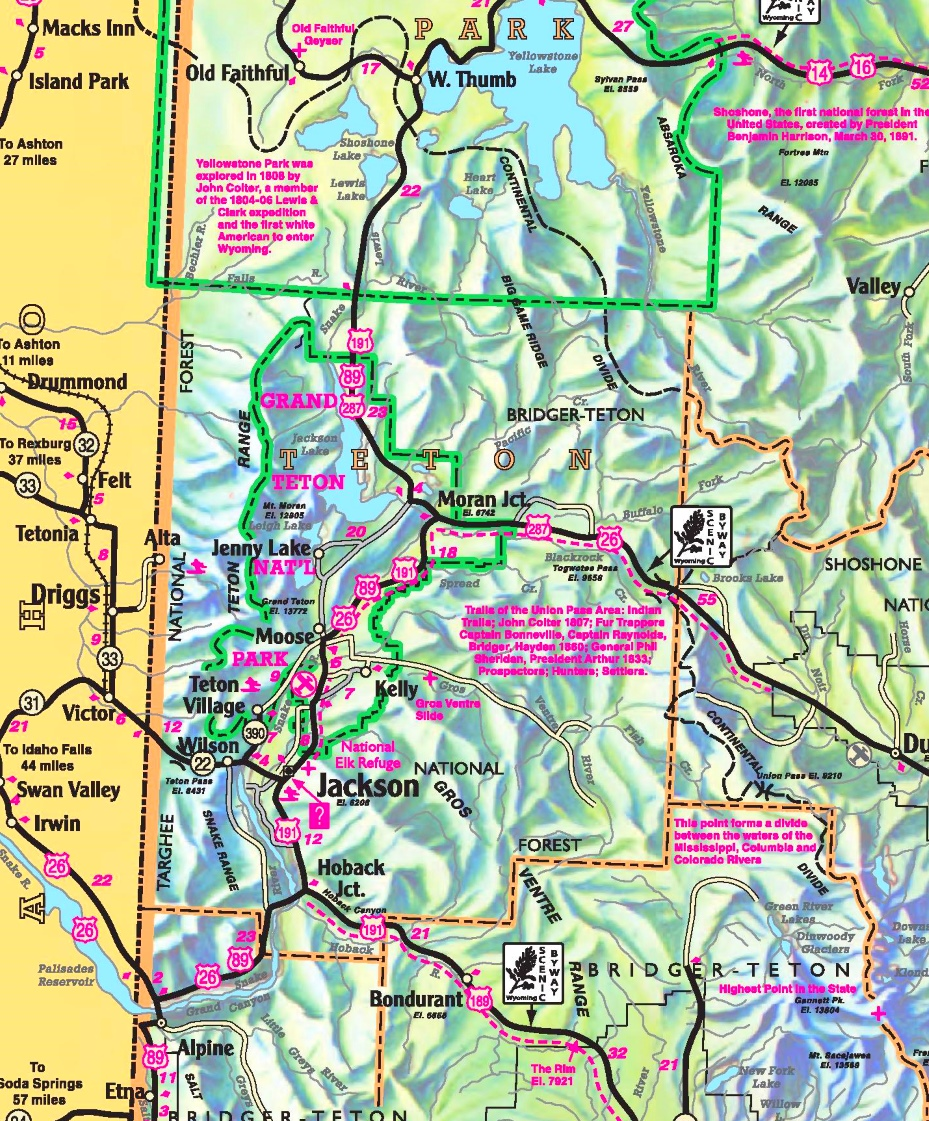 Grand Teton area road map