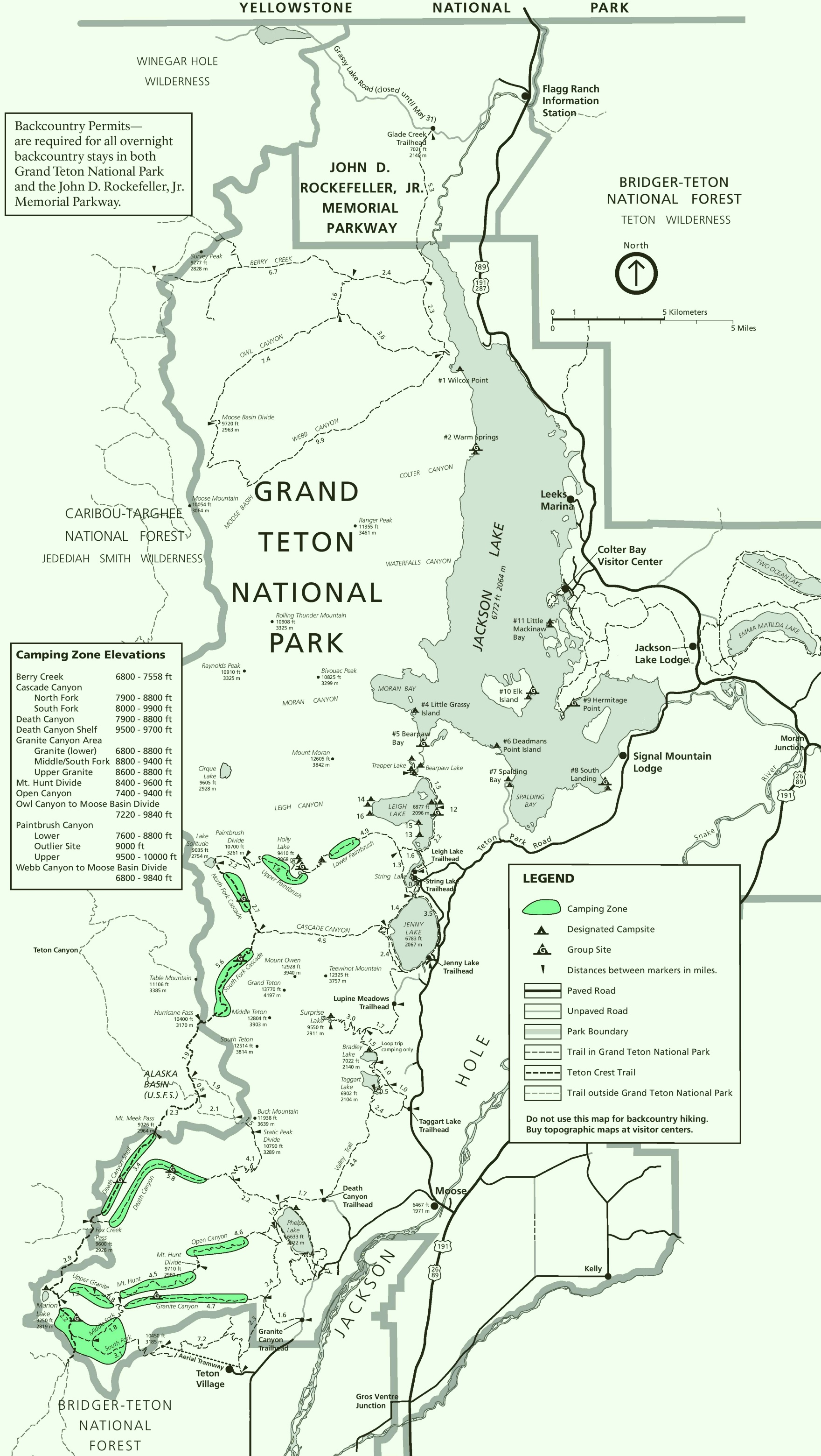 Grand Teton camping map
