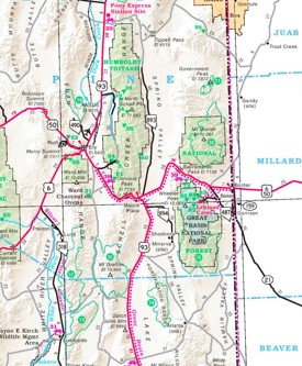 Great Basin area road map