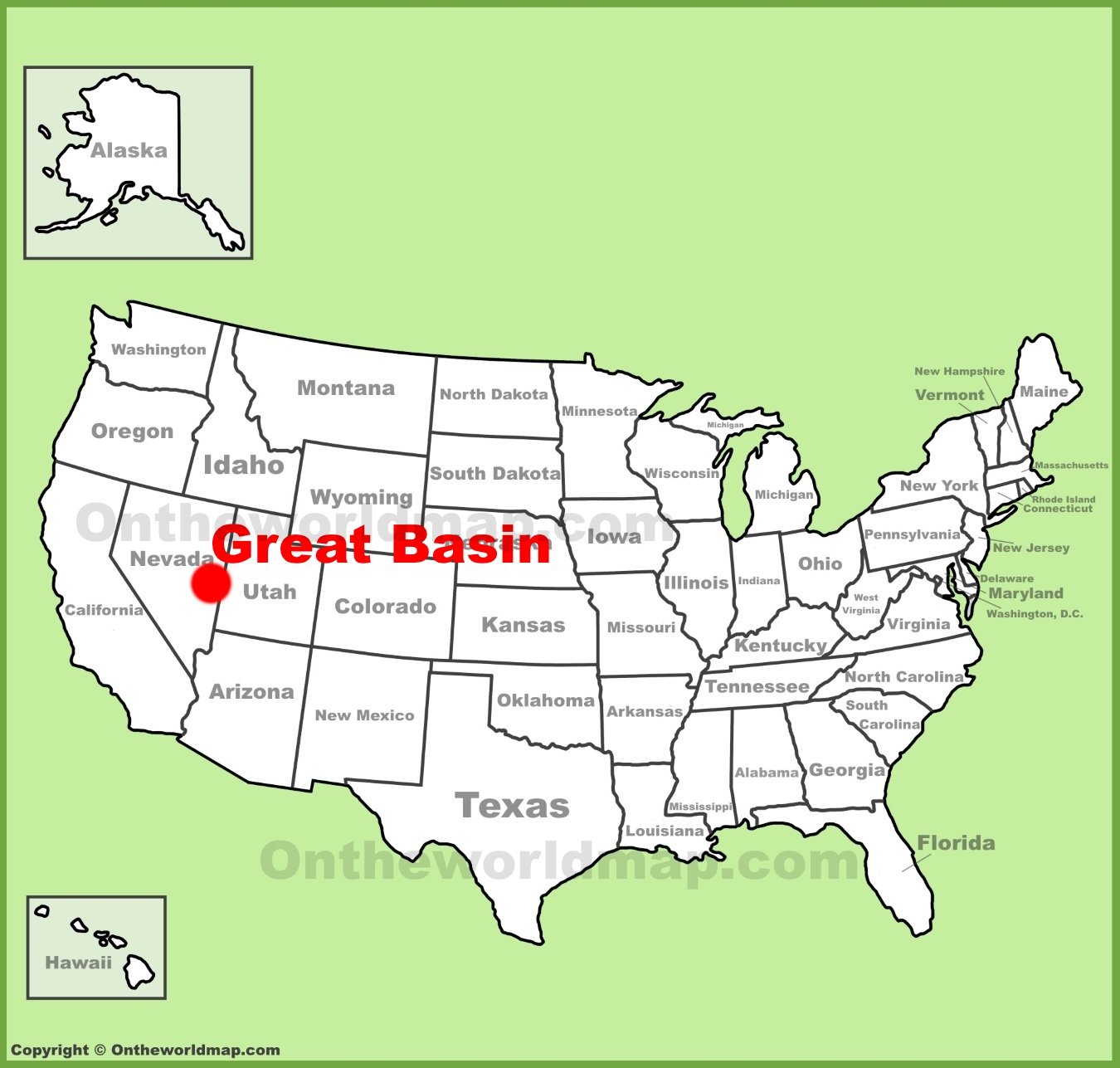 Great Basin location on the US Map