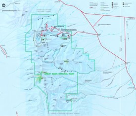 Great Basin trail and camping map
