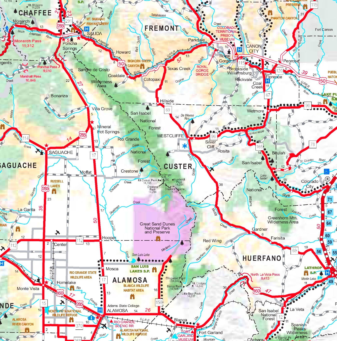 Great Sand Dunes area road map