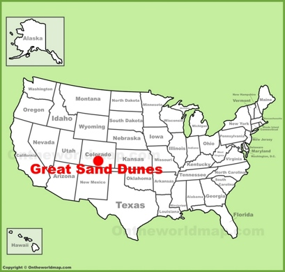Great Sand Dunes Location Map