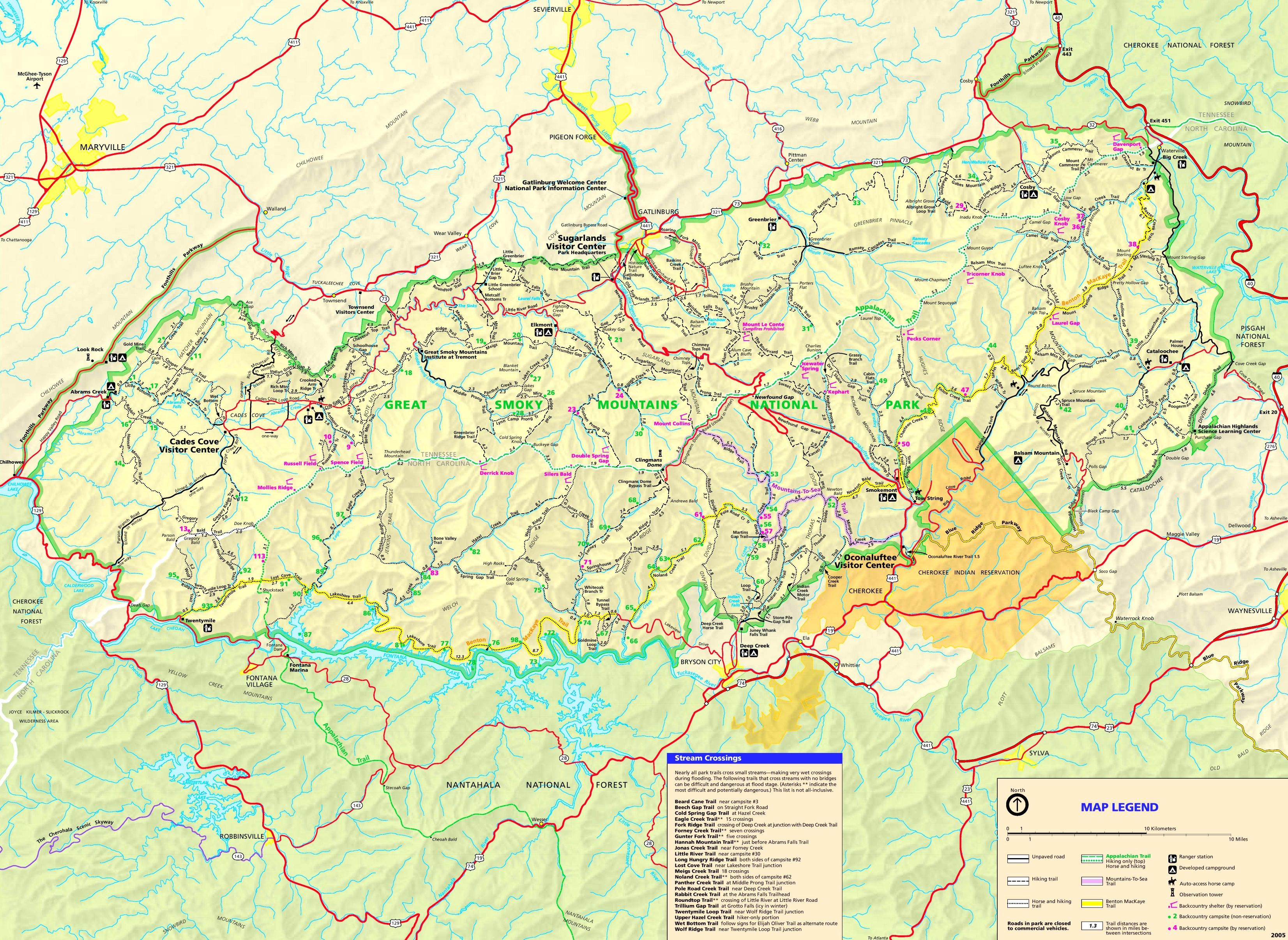 Detailed map of Great Smoky Mountains
