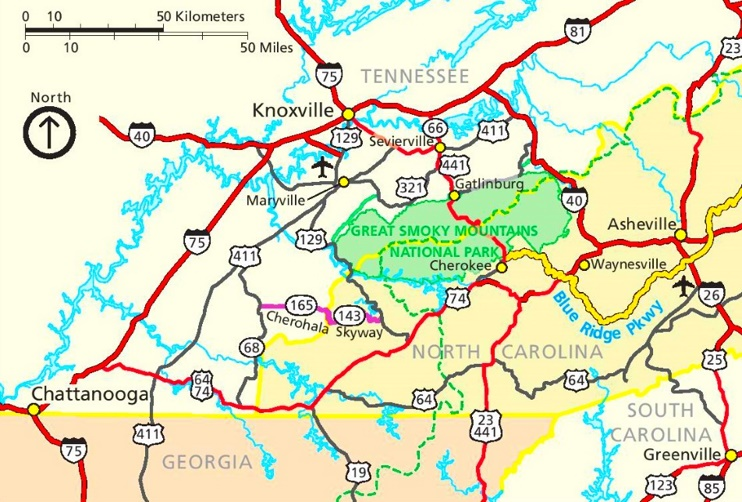 Great Smoky Mountains area road map