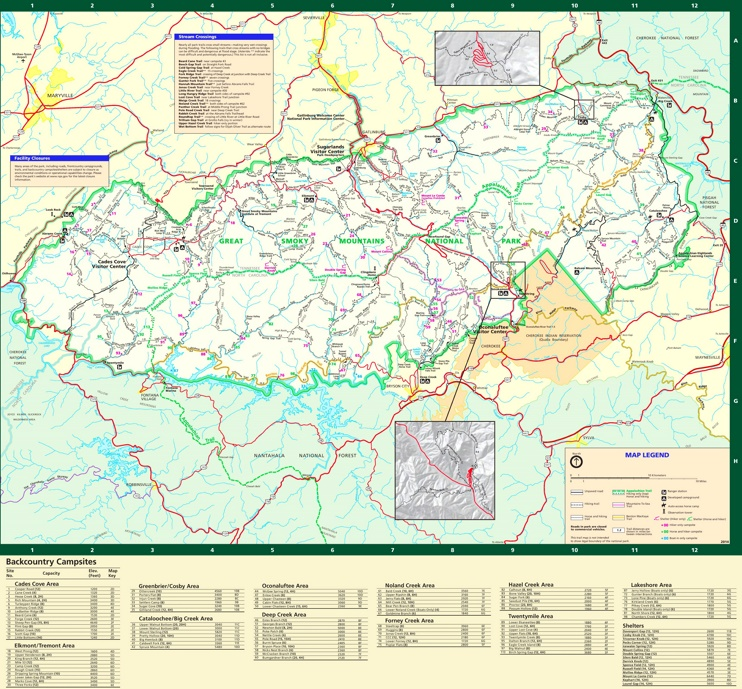 Great Smoky Mountains camping map
