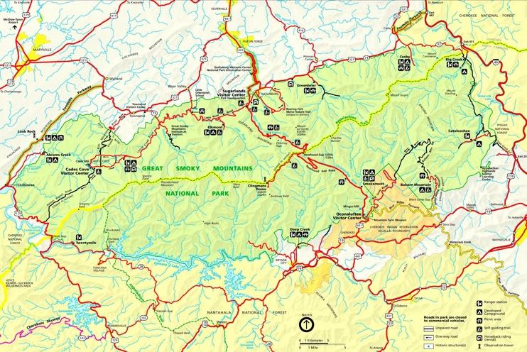 Great Smoky Mountains tourist map