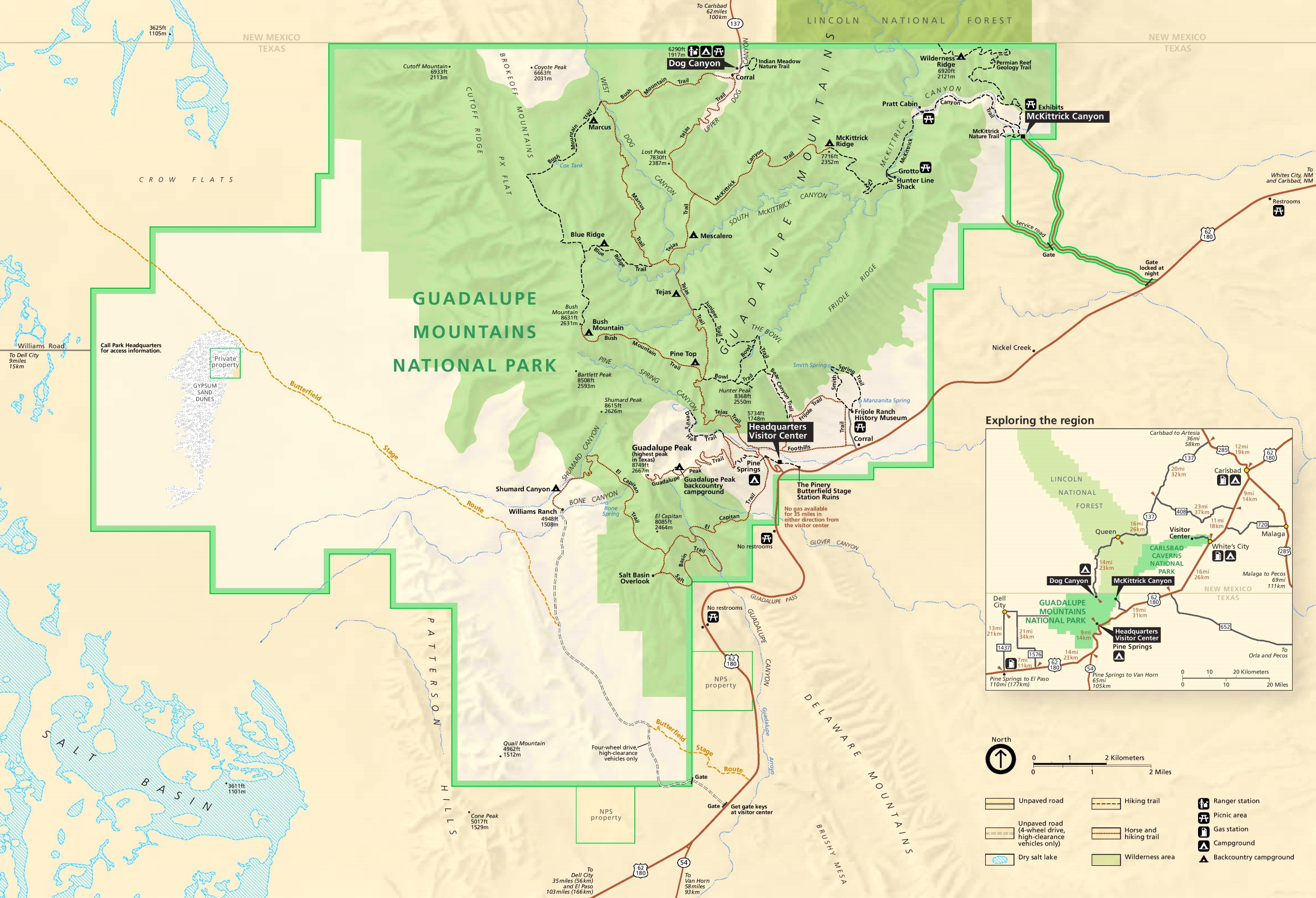 Detailed tourist map of Guadalupe Mountains