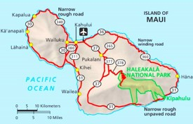 Haleakalā National Park area road map