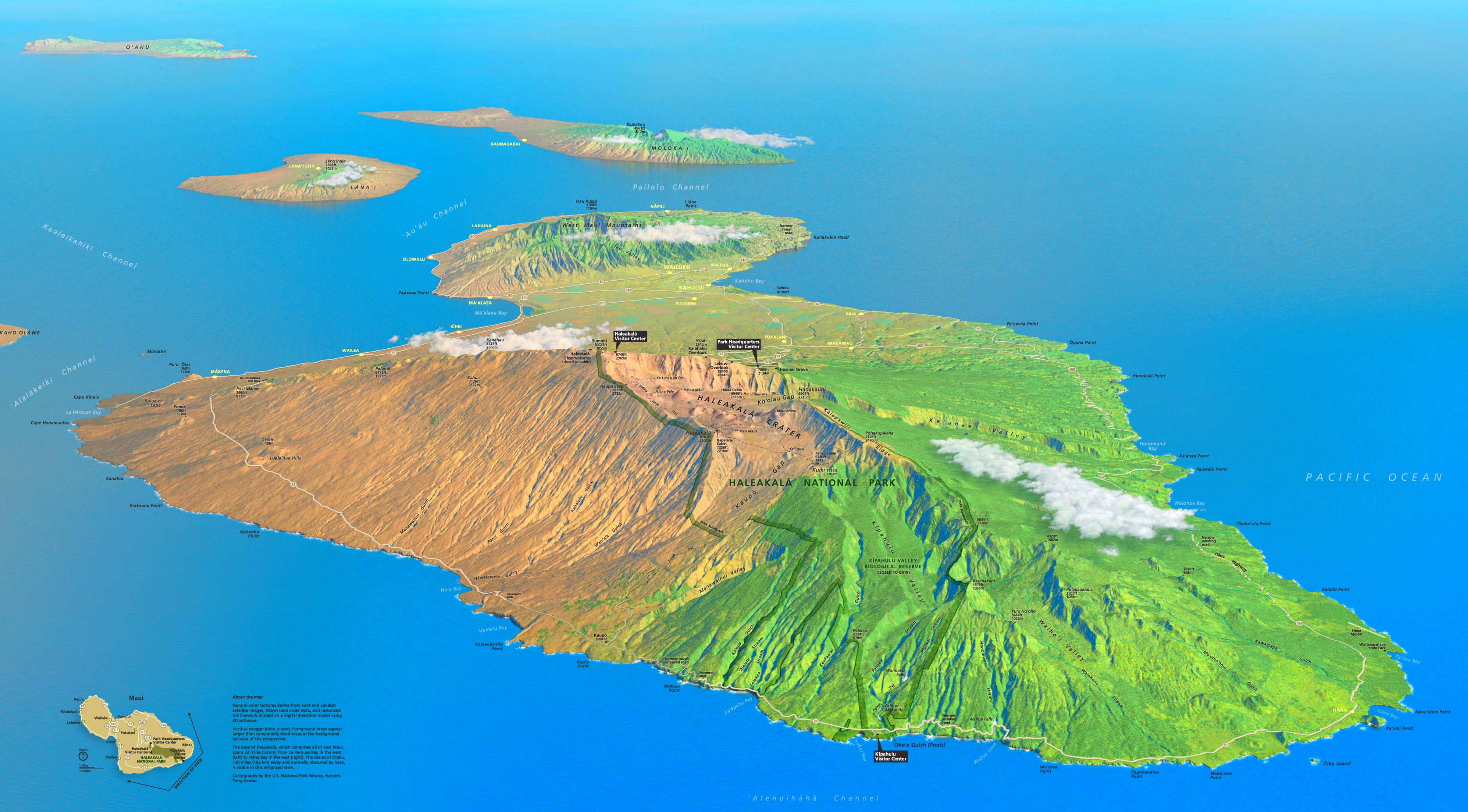 Haleakal National Park tourist map