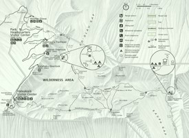 Haleakalā National Park trail and camping map
