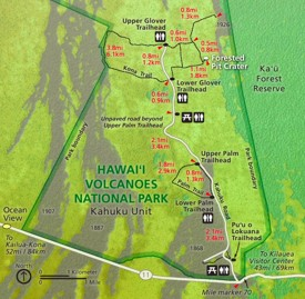 Hawaiʻi Volcanoes Kahuku map