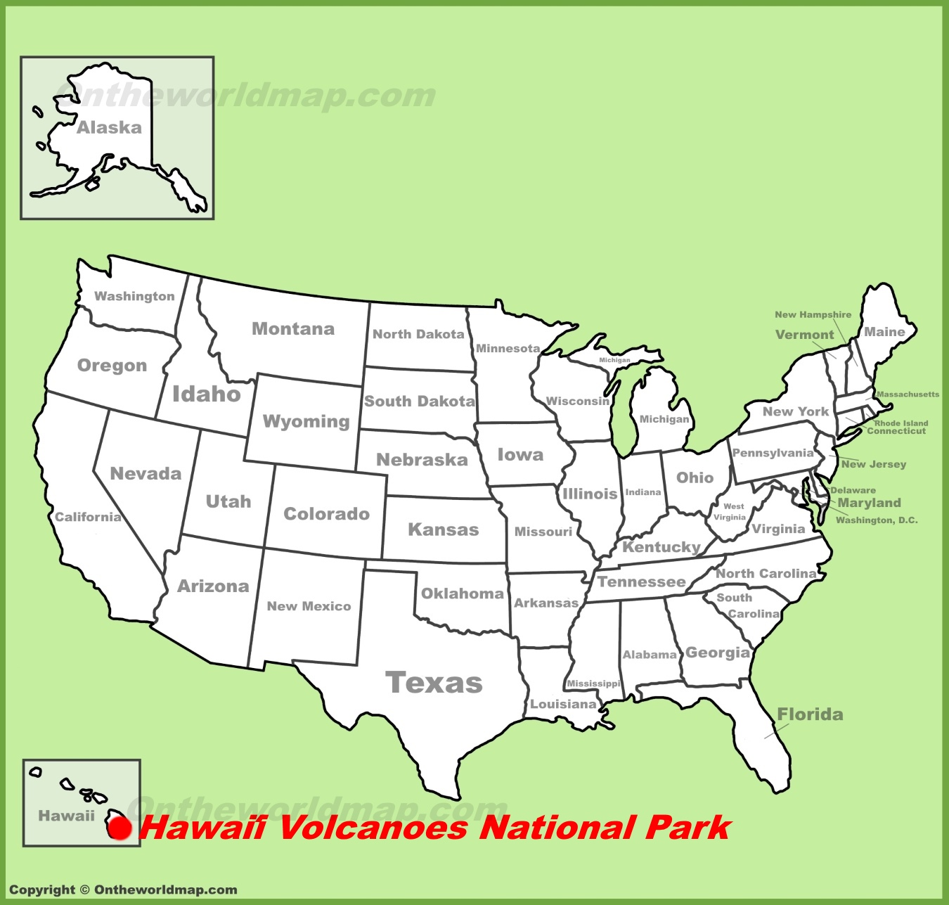 Hawaii Volcanoes location on the US Map