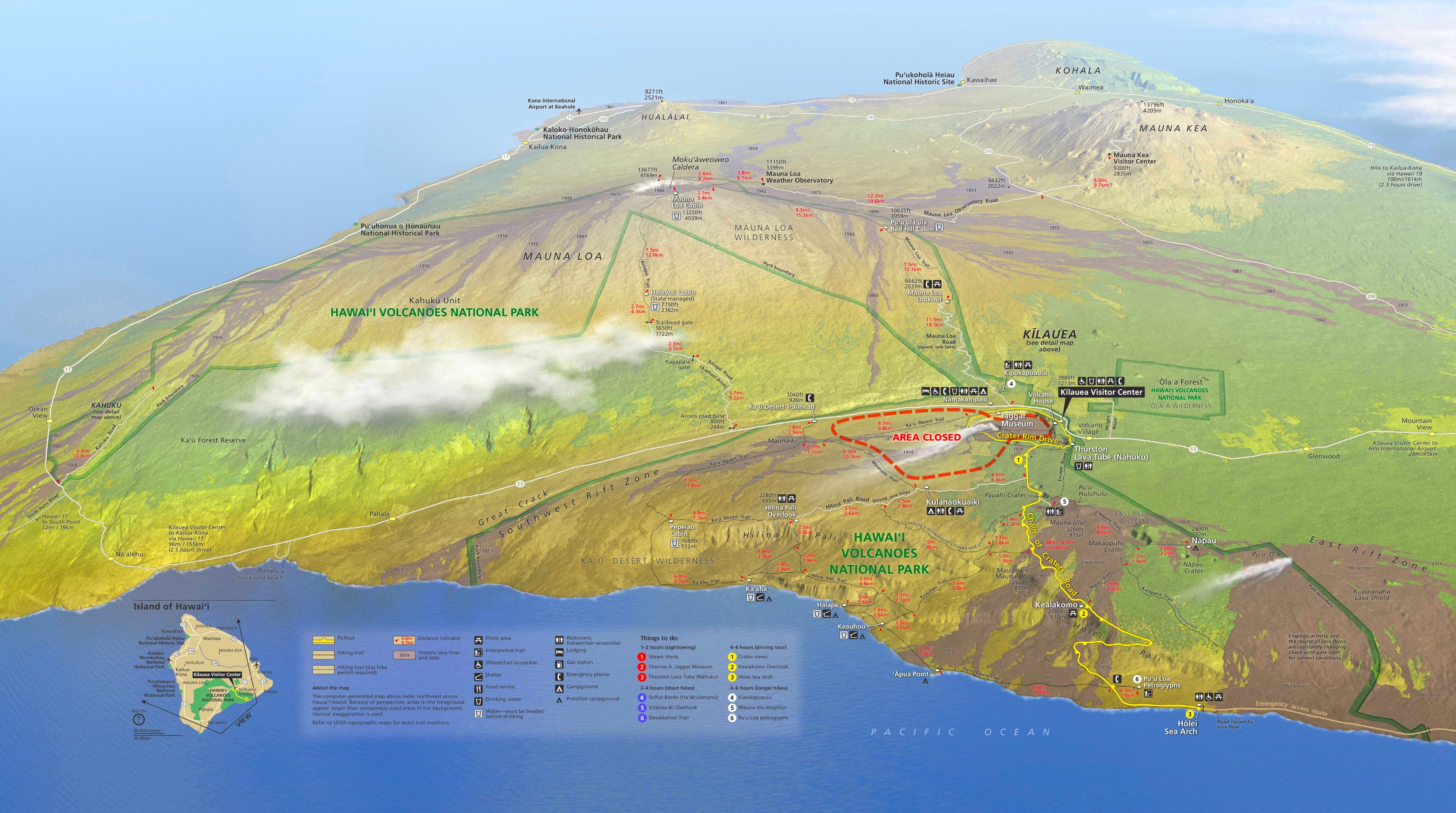 Hawaii Volcanoes tourist map