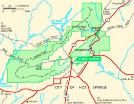Hot Springs area road map