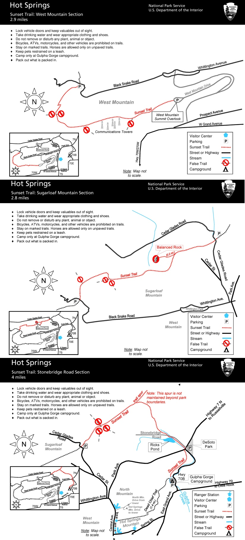 Hot Springs Sunset Trail map